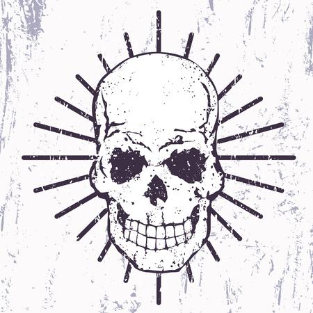 halloween tee shirt: t-shirt print with grunge skull, vector illustration
