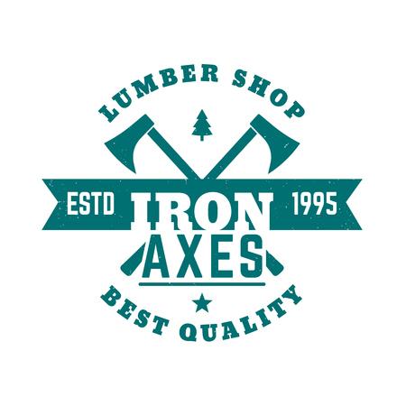 axes: lumber shop vintage logo, logotype with lumberjacks axes, vector illustration