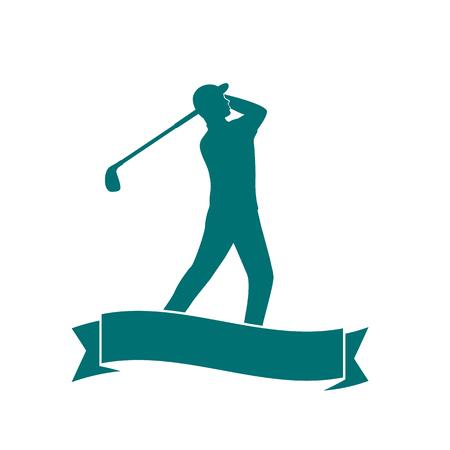 golfer swinging: golfer, golf player swinging golf club, man playing golf isolated over white, vector illustration