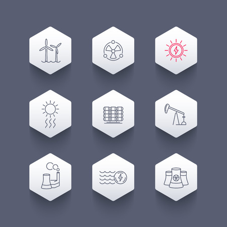 energetics: Power, energy production, energetics, nuclear energy line hexagon icons, vector illustration