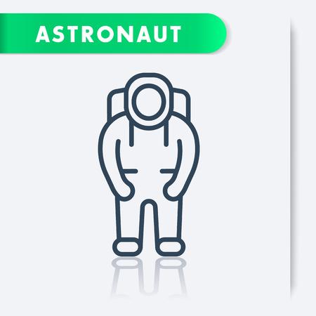spaceflight: Astronaut, space suit line icon, vector illustration