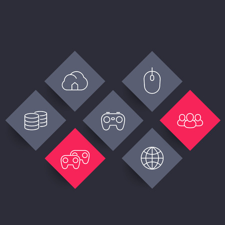 cooperativismo: videojuegos,, multijugador, iconos rómbicas línea de juegos de consola, ilustración vectorial cooperativa Vectores