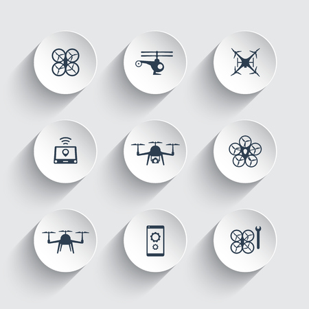 drones: Drones, Quadrocopter, Copters icons on round 3d shapes, vector illustration