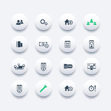 costs: 16 finance, costs, tax round modern icons, business analytics, statistics, vector illustration
