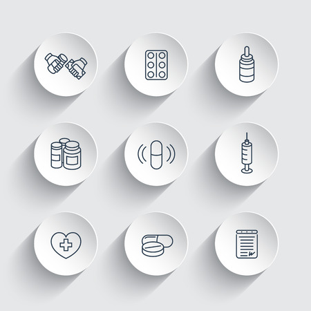 dispensary: medicine, drugs, pills, line icons on round 3d shapes, vector illustration
