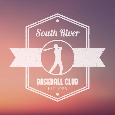 pelota de beisbol: club de b�isbol de la vendimia el logotipo blanco, placa, con el jugador de b�isbol, ilustraci�n vectorial