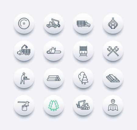 líneas de los informes ronda iconos modernos, aserradero, camión de registro, una cosechadora forestal, madera, leñador, madera, madera de construcción, ilustración del vector