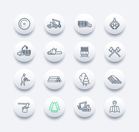 logging: Logging line round modern icons, sawmill, logging truck, tree harvester, timber, lumberjack, wood, lumber, vector illustration