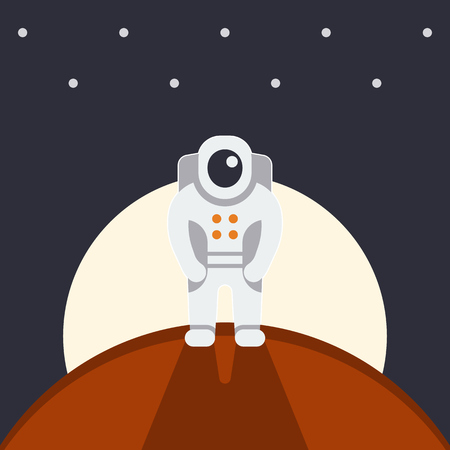 outer clothing: astronaut on another planet, Mars expedition, space tourism, vector illustration Illustration
