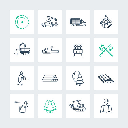 Logging line icons in squares, sawmill, logging truck, tree harvester, timber, lumberjack, lumber, vector illustration