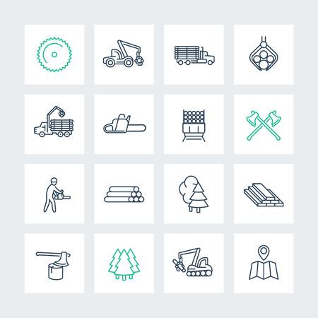 iconos de líneas de registro en las plazas, aserradero, camión de registro, una cosechadora forestal, madera, leñador, madera, ilustración vectorial Ilustración de vector
