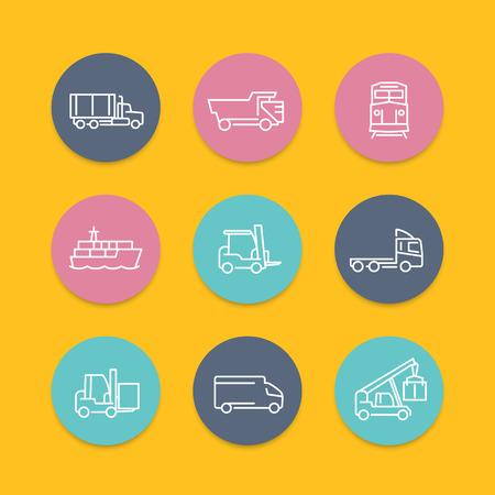 lading: Transportation, line round flat icons, forklift, cargo ship, freight train, cargo truck, vector illustration Illustration