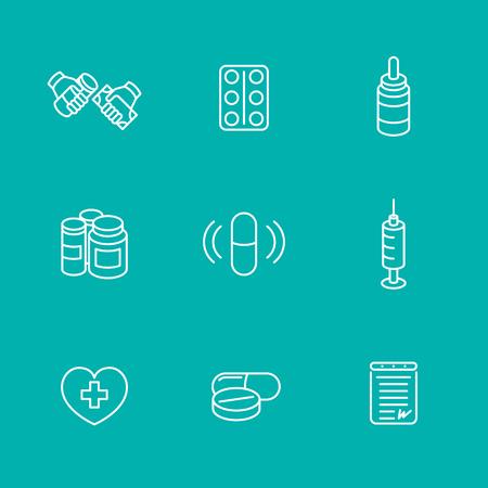 dispensary: medicine, drugs, pills, line icons, isolated set, vector illustration Illustration