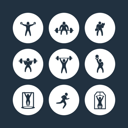 Gym, fitness exercises round icons, gym training, workout icon, vector illustration Vettoriali