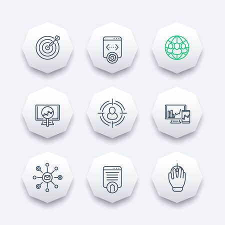 indexing: seo, search engine optimization, internet marketing, web page indexing line octagon icons, vector illustration