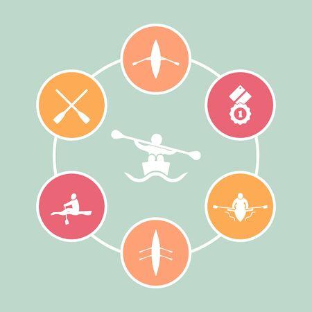 Rowing, kayak, canoe, rower, oars flat round icons, vector illustration
