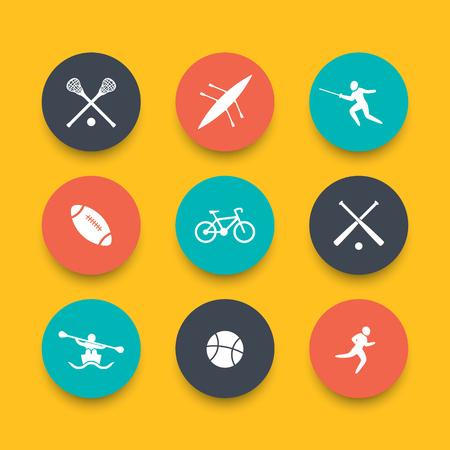 Sports d'université, icônes multicolores rondes, illustration vectorielle