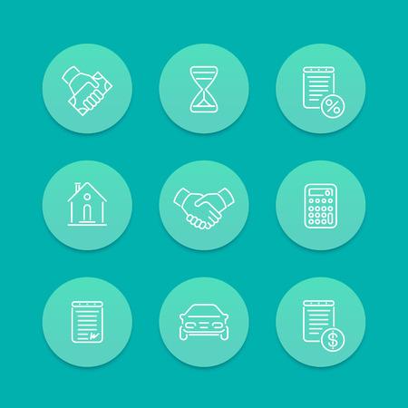 leasing: Leasing, loan, deal line icons, aquamarine set, vector illustration Illustration