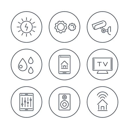 humid: Smart House, smart electronics, internet of things, line icons in circles, vector illustration