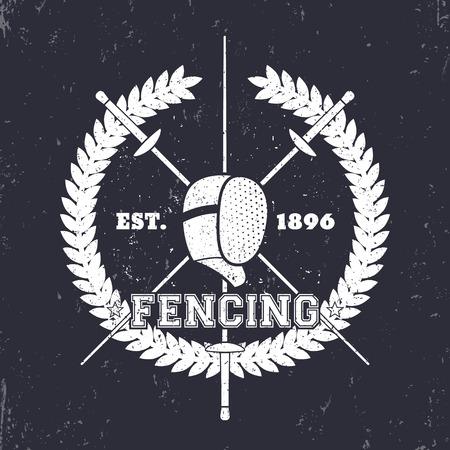 pommel: Fencing grunge emblem, logo with crossed foils and fencing mask, vector illustration
