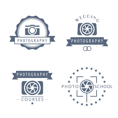 isolated over white: photography, photo school, photography courses, photographer logo, badges, signs isolated over white, vector illustration