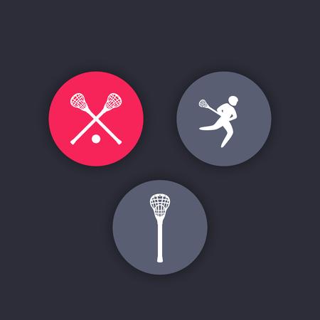 crosse: Lacrosse round icons, lacrosse stick, crosse, lacrosse player, vector illustration