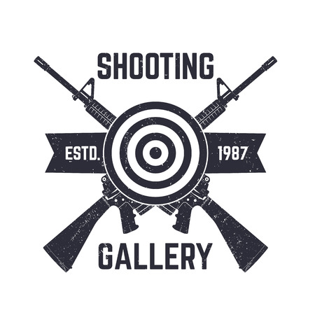 assault: Shooting Gallery logo, sign with crossed assault rifles, vector illustration