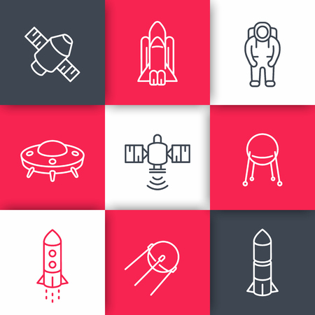 spacesuit: space line icons on squares, satellite, astronaut, space shuttle, spaceship, rocket, spacesuit, vector illustration