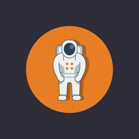 spacesuit: Astronaut round flat icon, space suit, spacesuit, space exploration, vector illustration