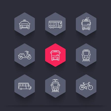 trolleybus: City transport, tram, train, bus, bike, taxi, trolleybus, line hexagon icons, vector illustration