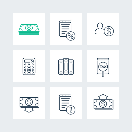 wage: Bookkeeping, finance, tax line icons in squares, vector illustration Illustration