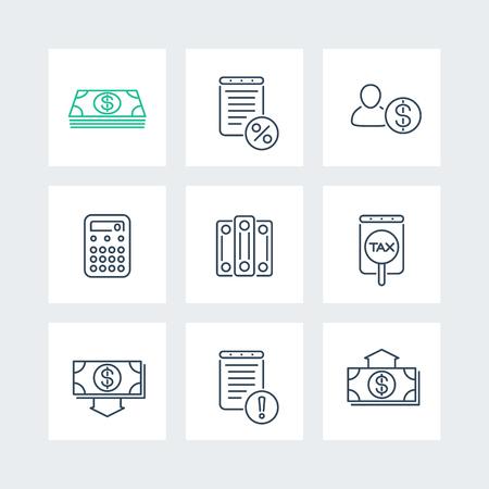 salarios: Contabilidad, finanzas, impuestos iconos de líneas en las plazas, ilustración vectorial