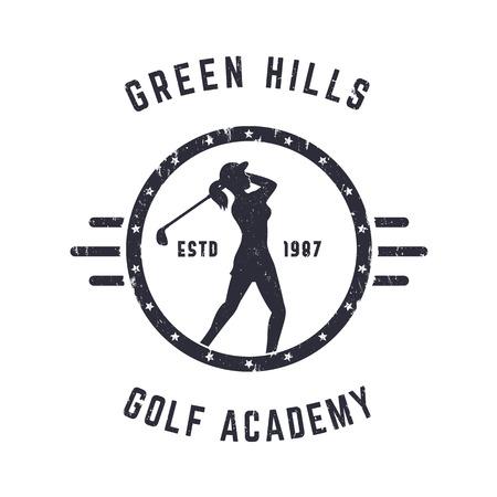 mujer golpeada: Academia de Golf de la vendimia diseño del logotipo del grunge ronda con el golfista femenino, ilustración vectorial