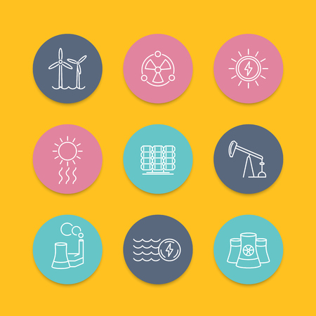 energy production: Power, energy production, energetics, nuclear energy line round color icons, vector illustration Illustration
