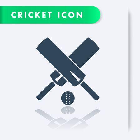 ball sport: Cricket icon, crossed cricket bats and ball, vector illustration