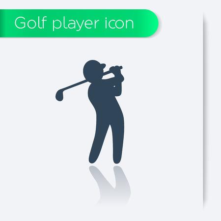 golfer swinging: golf icon, golf player, golfer swinging golf club, vector illustration