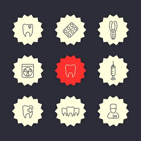 cavity: Teeth, dental care, tooth cavity, stomatology thin line icons, vector illustration