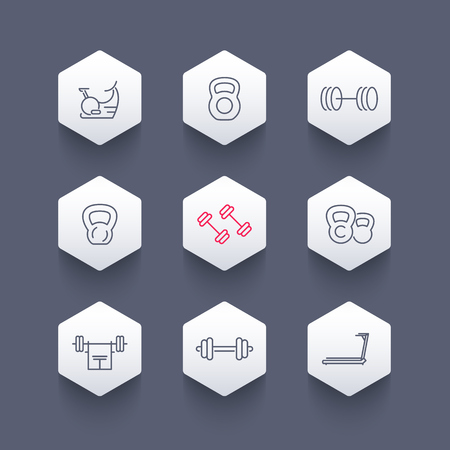crossbar: Gym equipment line icons on hexagon shapes, workout, training icon, vector illustration Illustration
