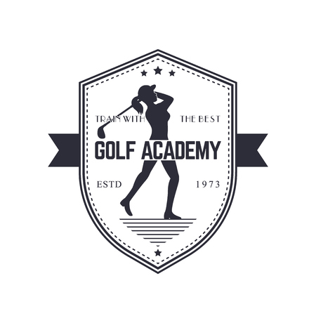 swinging: Golf Academy vintage emblem with female golf player swinging golf club, vector illustration, eps10, easy to edit Illustration