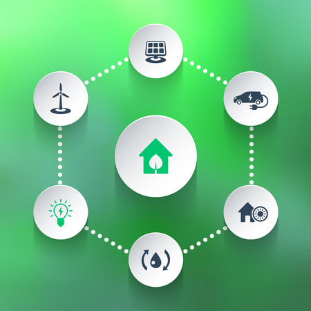ecologic: Green ecologic house, energy saving technologies, icons on 3d shapes, vector illustration, eps10, easy to edit