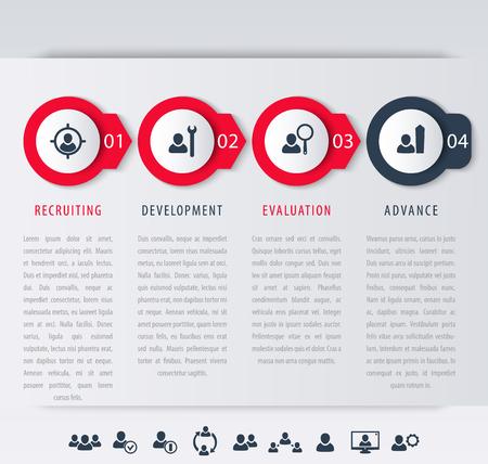 Personeel, ontwikkeling van medewerkers stappen, infographic elementen, pictogrammen, tijdlijn, vector illustratie, eps10, gemakkelijk te bewerken Vector Illustratie