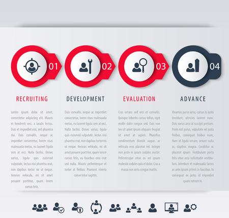 employee: Staff, employee development steps, infographic elements, icons, timeline, vector illustration, eps10, easy to edit