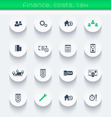 the maintenance: finanzas, costos, ronda los iconos de impuestos, elementos de infografía, ilustración vectorial, eps10, fácil de editar