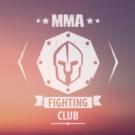 mma: MMA Fighting Club grunge emblem, logo, with spartan helmet, vector illustration, eps10, easy to edit