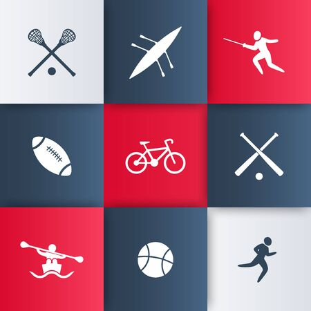 lacrosse: College sports icons, vector illustration, eps10, easy to edit Illustration