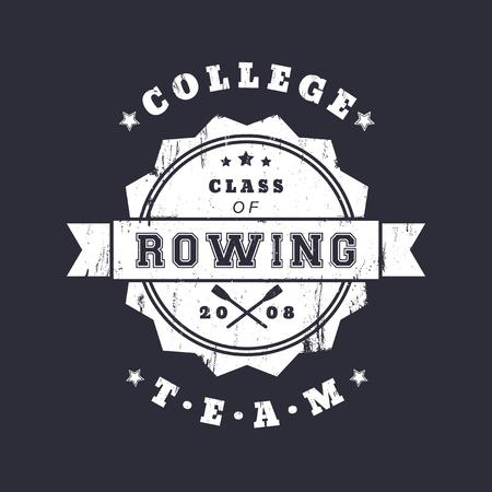 in oars: College Rowing team vintage grunge emblem, logo with crossed oars, vector illustration, eps10, easy to edit Illustration