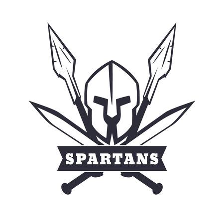 Spartans embleem met helm, gekruiste zwaarden en speren, vector illustratie, eps10, gemakkelijk te bewerken