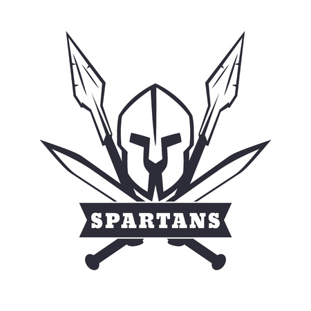 sword fight: Spartans emblem with helmet, crossed swords and spears, vector illustration, eps10, easy to edit