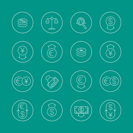 easy money: Currency, forex trading, money, line icons in circles, vector illustration, eps10, easy to edit