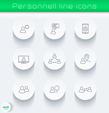 business icons with people, linear, round, vector illustration, eps10, easy to edit Illustration